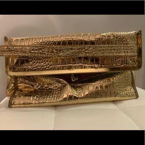 Metallic gold croc embossed clutch